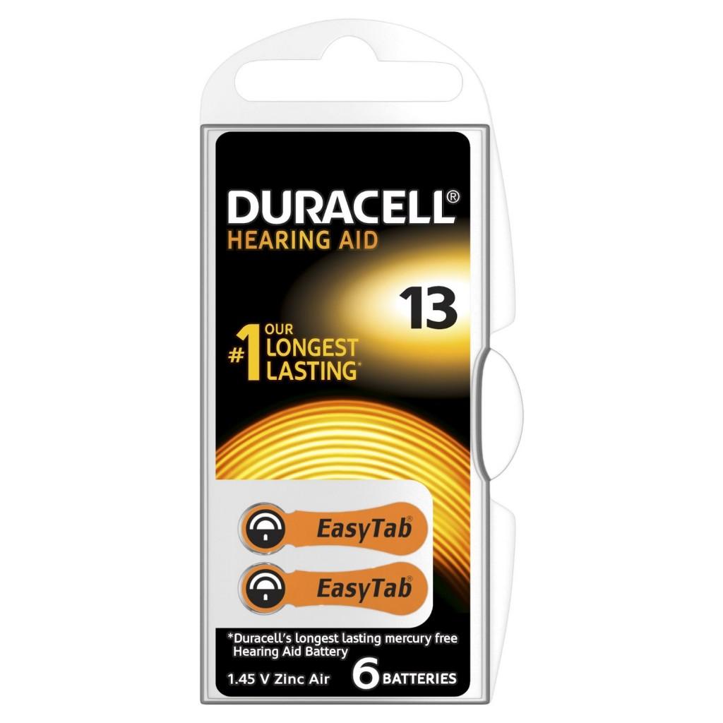 6 סוללות למכשירי שמיעה DURACELL ACTIVAIR13