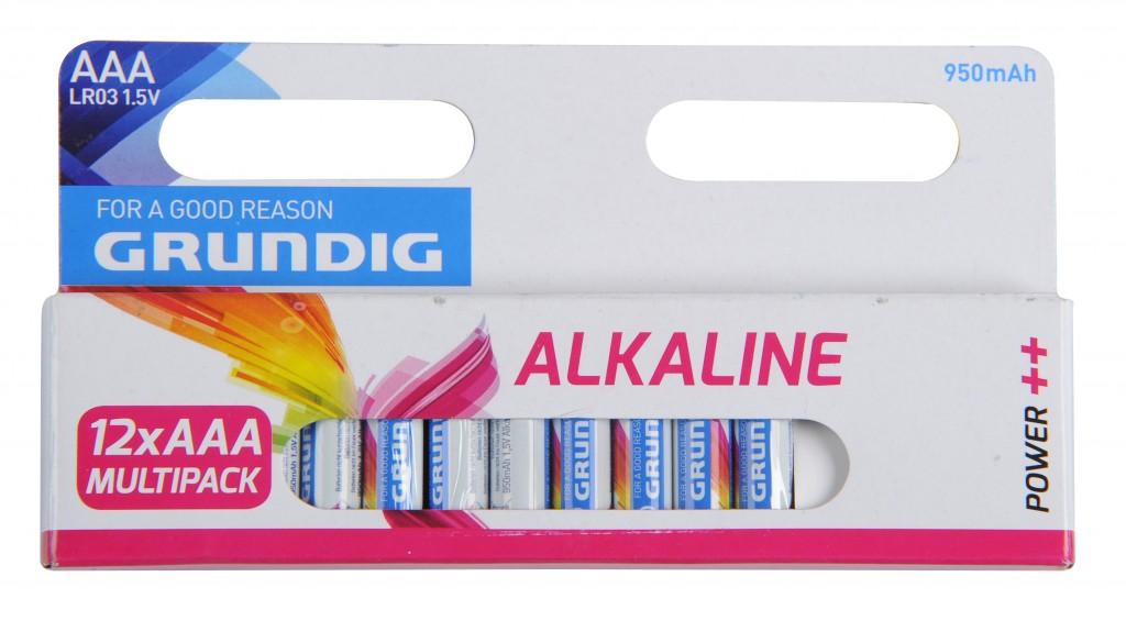 מארז 12 סוללות אלקליין AA סידרה לבנה גרונדיג